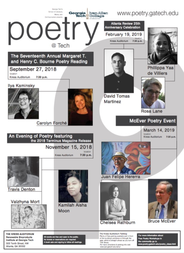 Poetry@Tech 2018-2019 Events Flier